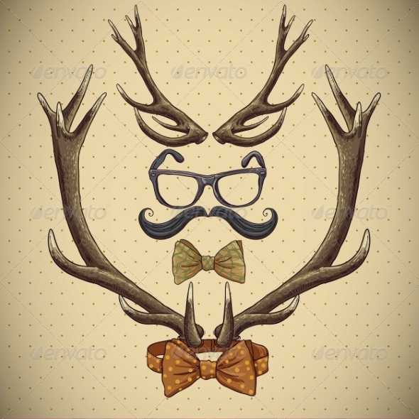 Hipster Vintage Background with Deer Antlers - Patterns Decorative