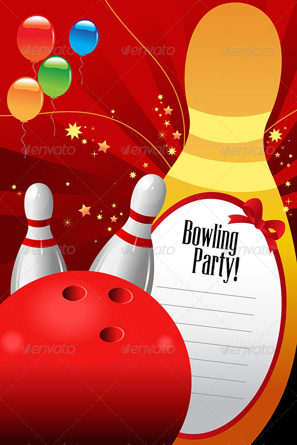 Bowling Party Invitation Template - Sports/Activity Conceptual