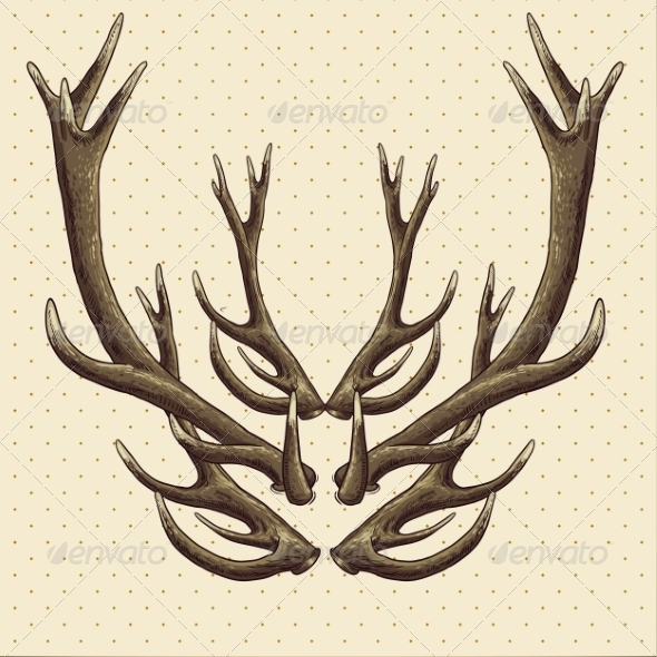 Hipster Vintage Background with Deer Antlers - Patterns Decorative