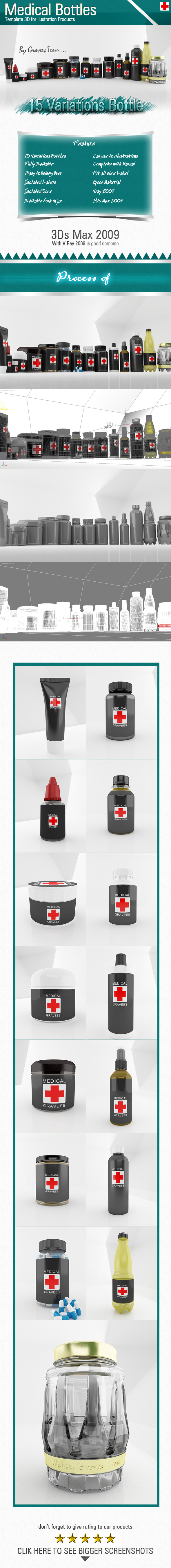 Medical Bottles - 3DOcean Item for Sale