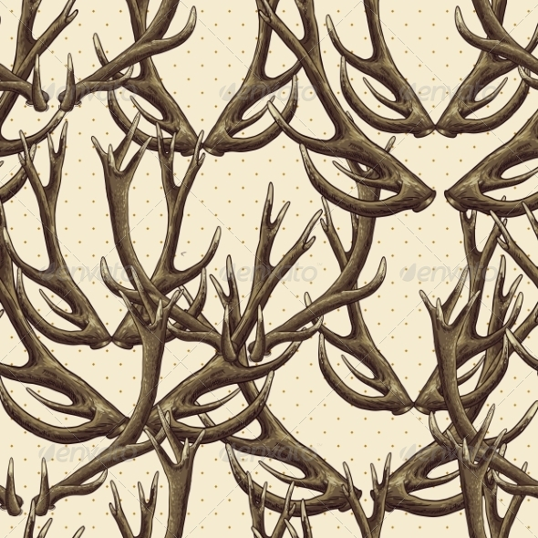 Seamless Background with Deer Antlers - Patterns Decorative