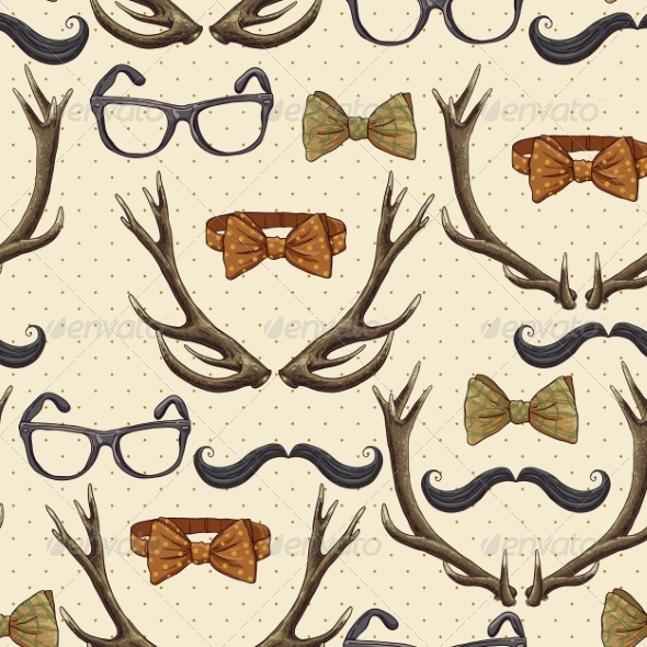 Seamless Hipster Vintage Background with Antlers - Patterns Decorative