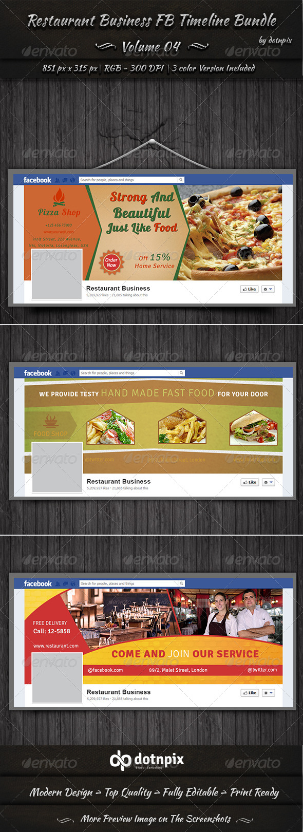 Restaurant Business FB Timeline Bundle | Volume 4 - Facebook Timeline Covers Social Media