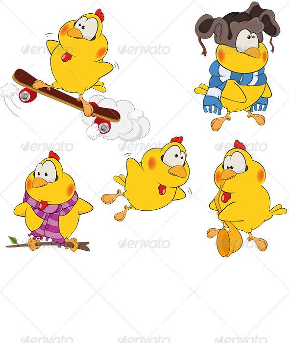 Set of Chicken Cartoons - Animals Characters