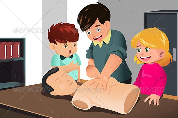 Kids Practicing CPR - Health/Medicine Conceptual
