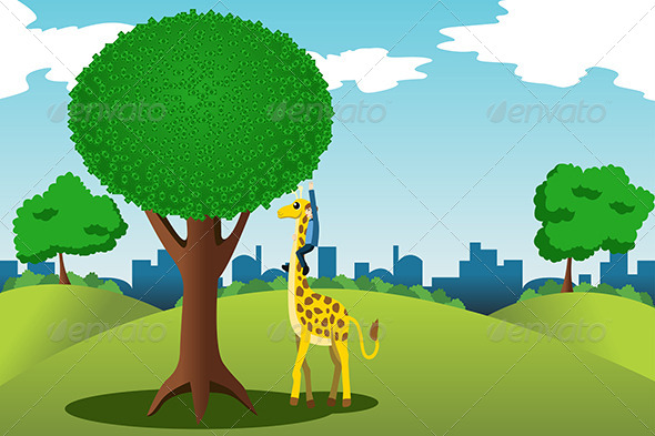 Man Reaching for Money on a Tree - Concepts Business