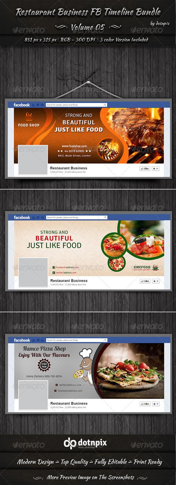 Restaurant Business FB Timeline Bundle | Volume 5 - Facebook Timeline Covers Social Media
