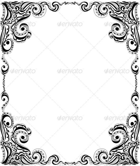 Template Frame Design for Card Floral Pattern - Backgrounds Decorative
