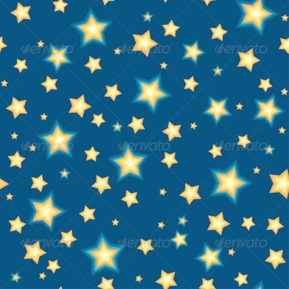 Seamless Background with Cartoon Stars - Backgrounds Decorative