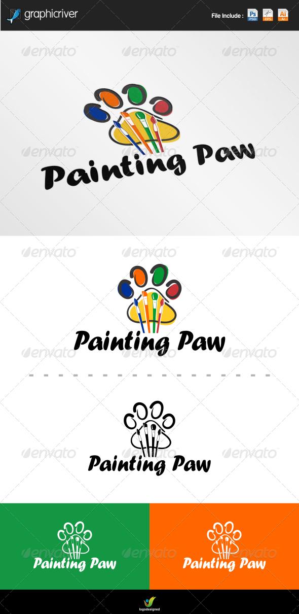 Painting Paw Logo - Symbols Logo Templates