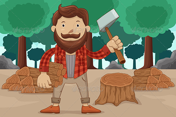 Hipster Chopping Wood - People Characters