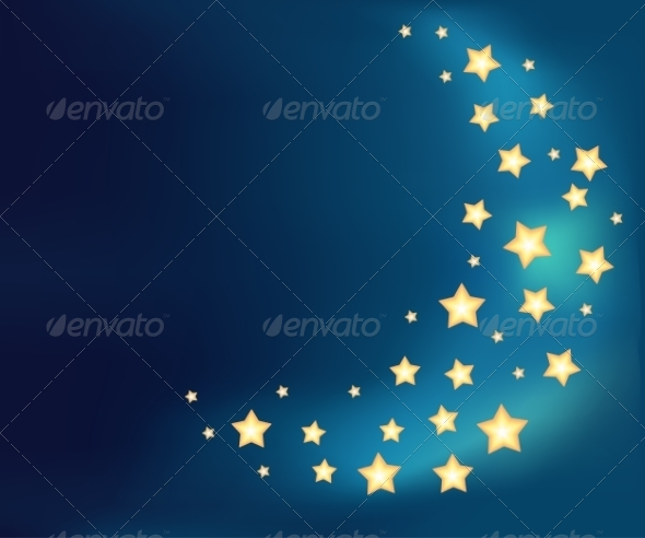 Background with a Moon Made of Cartoon Stars - Backgrounds Decorative