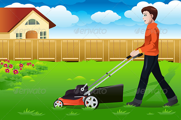 Man Mowing the Lawn - People Characters