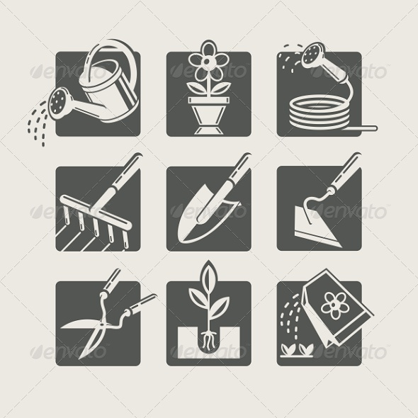 Garden Tools. Icons Set  - Industries Business