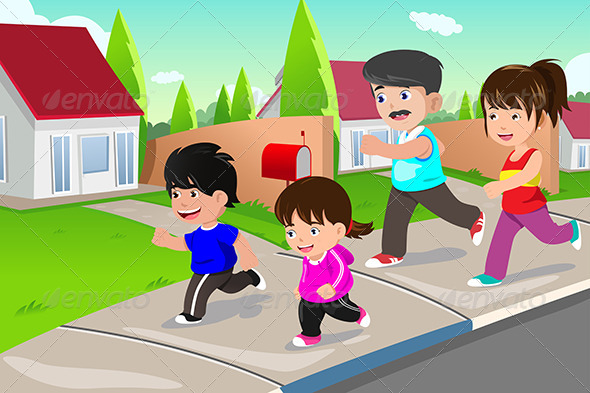 Family Running Outdoor in a Suburban Neighborhood - People Characters