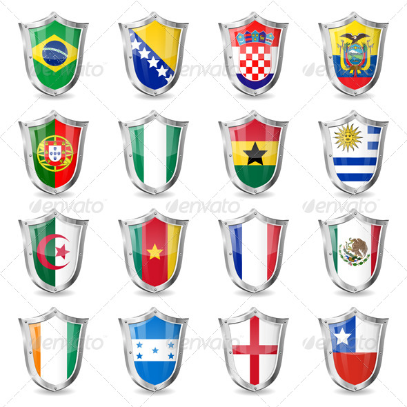 Soccer Flags on Shields - Sports/Activity Conceptual