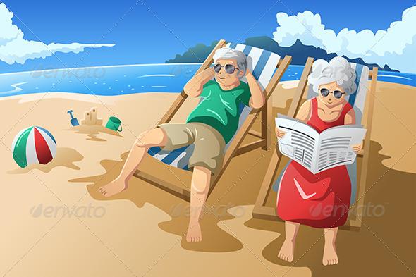 Senior Couple Enjoying Their Retirement - People Characters