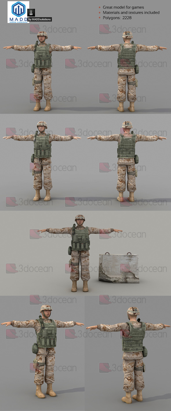 Low Poly Soldier With Vest and Helmet - 3DOcean Item for Sale