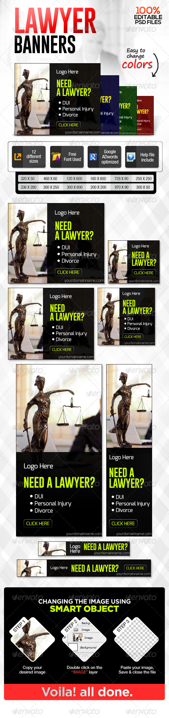 Lawyer Banners - Banners & Ads Web Elements