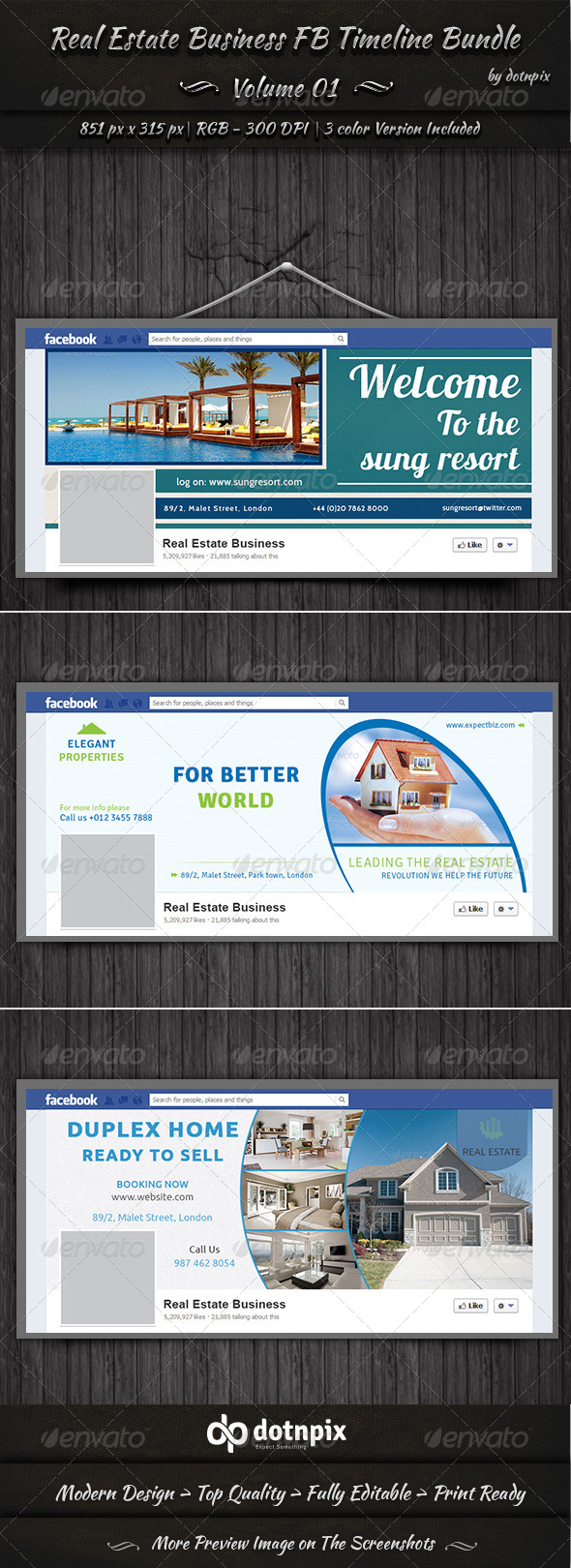 Real Estate Business FB Timeline Bundle | Volume 1 - Facebook Timeline Covers Social Media