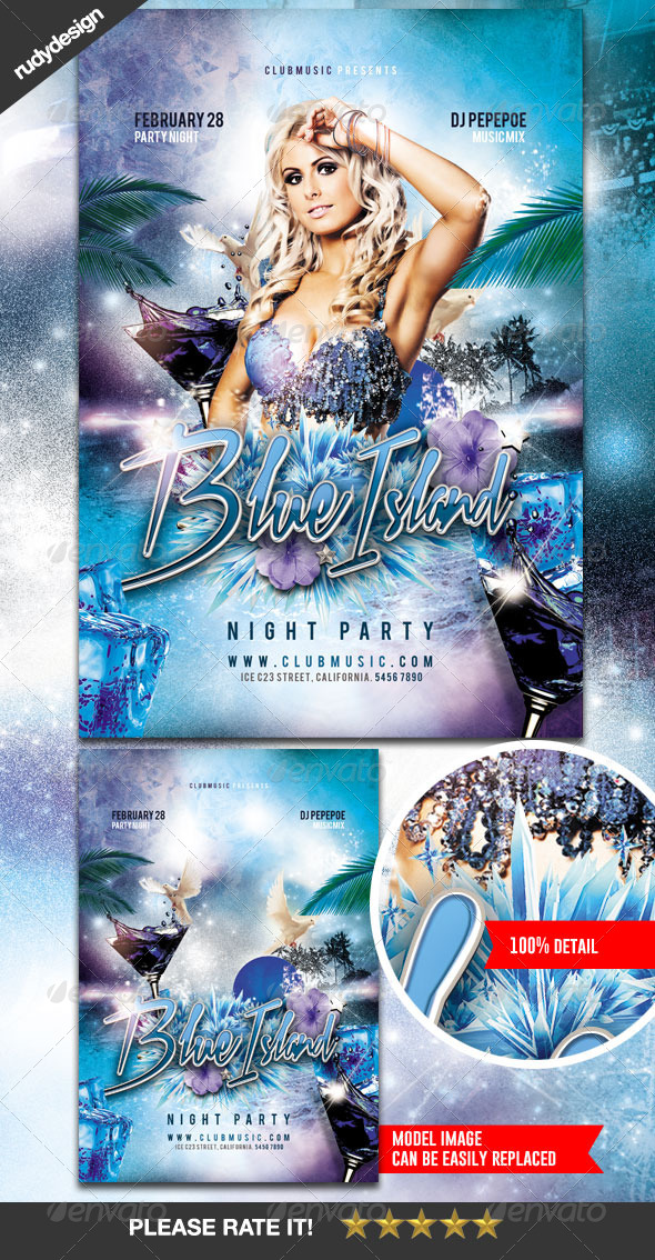 Blue Island Night Club Party Flyer - Clubs & Parties Events