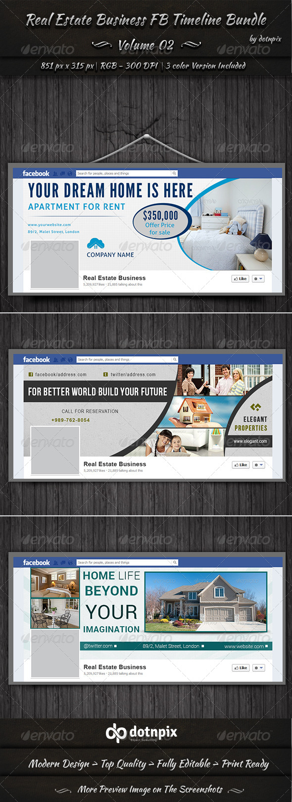 Real Estate Business FB Timeline Bundle | Volume 2 - Facebook Timeline Covers Social Media