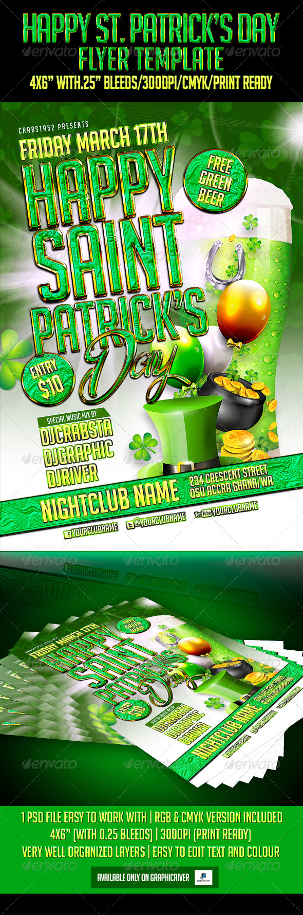 Happy St. Patrick's Day Flyer Template - Flyers Print Templates