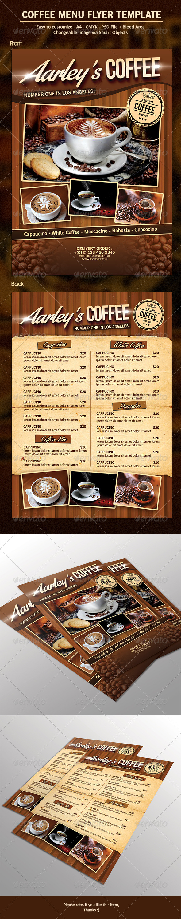Coffee Menu Flyer - Food Menus Print Templates
