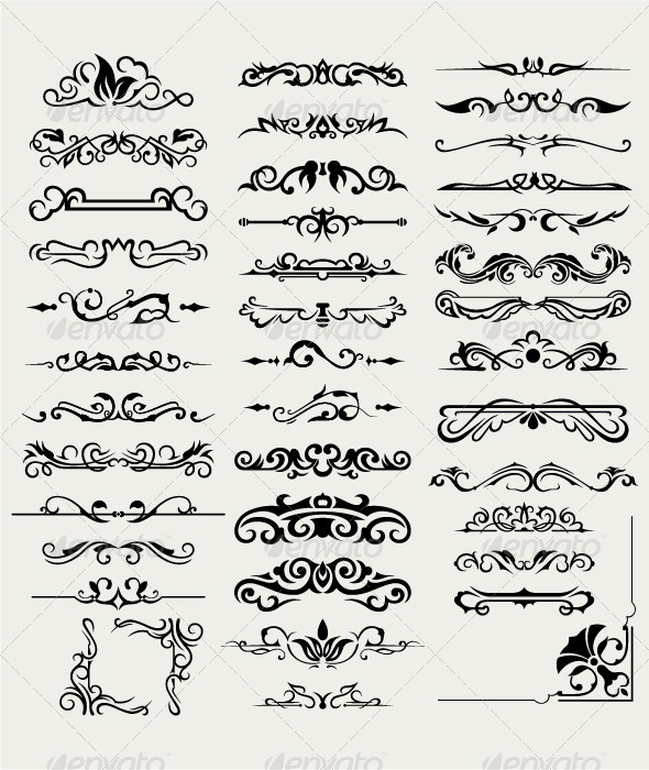 Collection of Ornamental Elements - Flourishes / Swirls Decorative