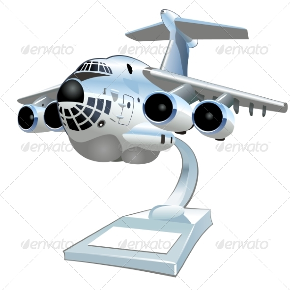 Vector Cartoon Cargo Airplane - Man-made Objects Objects