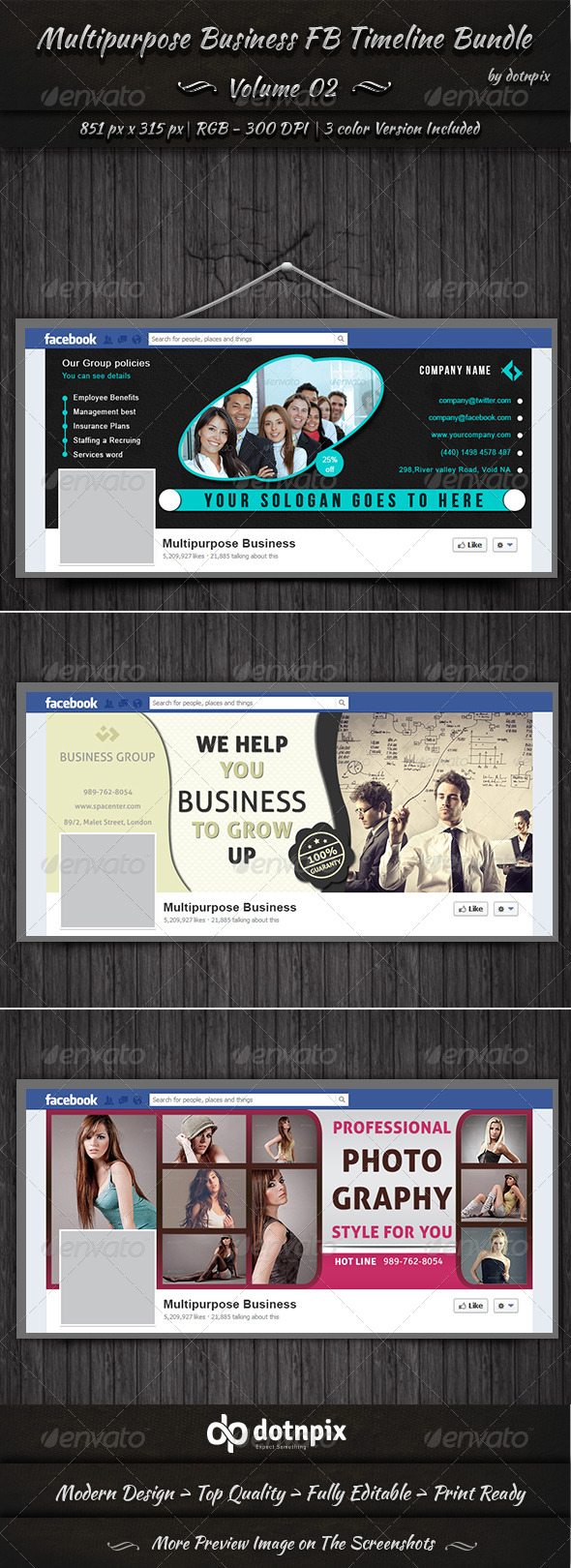 Multipurpose Business FB Timeline Bundle | Vol 2 - Facebook Timeline Covers Social Media