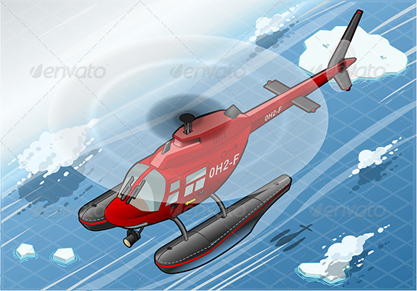 Isometric Emergency Helicopter in Front View - Objects Vectors