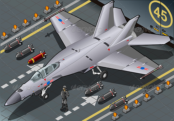 Isometric Fighter Bomber Landed in Front View - Objects Vectors