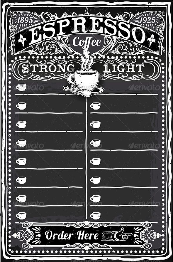 Vintage Hand Drawn Blackboard for Espresso Menu - Food Objects