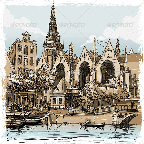 Vintage Hand Drawn View of Old Church in Amsterdam - Buildings Objects