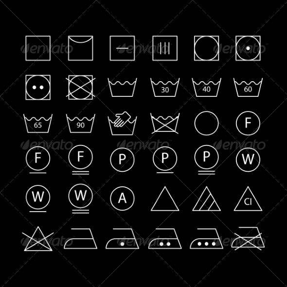White Washing Symbols - Icons