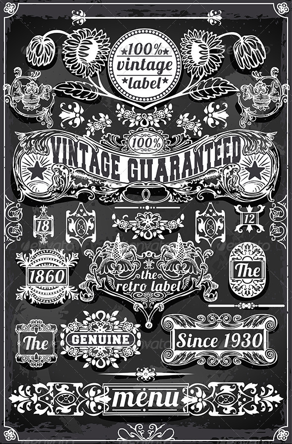 Vintage Hand Drawn Graphic Banners and Labels - Flourishes / Swirls Decorative