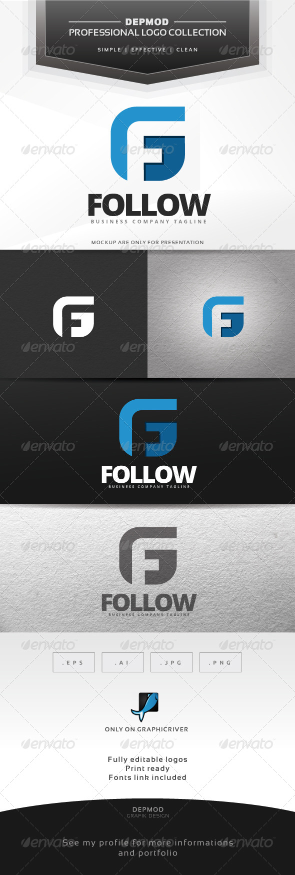 Follow Logo - Letters Logo Templates