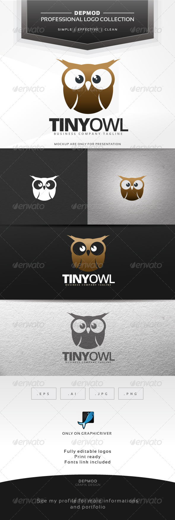 Tiny Owl Logo - Animals Logo Templates