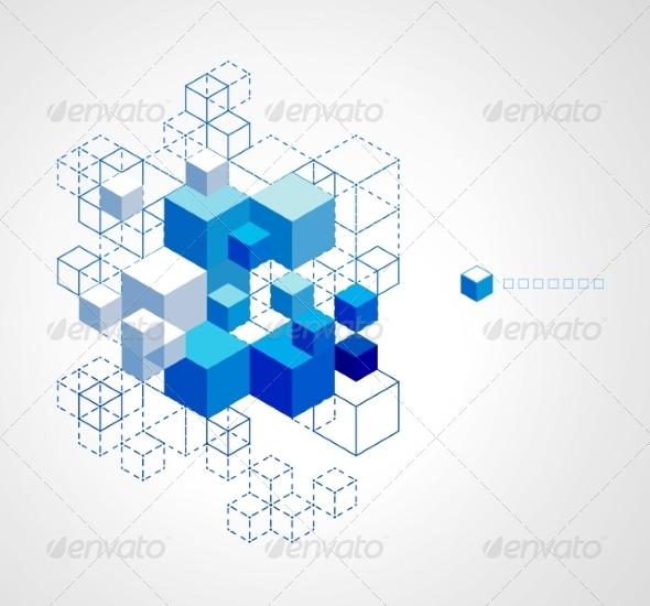 Abstract Blue Cubes Background. - Miscellaneous Vectors