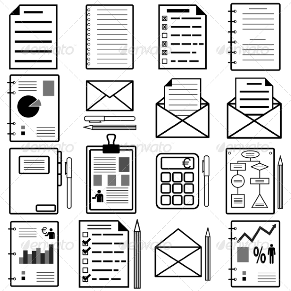Statistics and Analytics File Icons - Web Elements Vectors