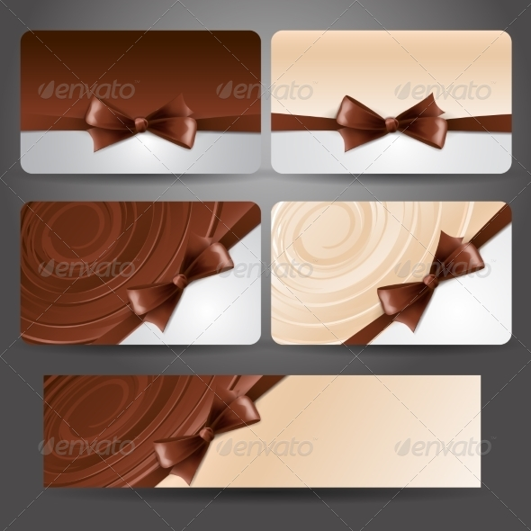 Gift Card with Chocolate Bow and Whirlpool - Miscellaneous Vectors