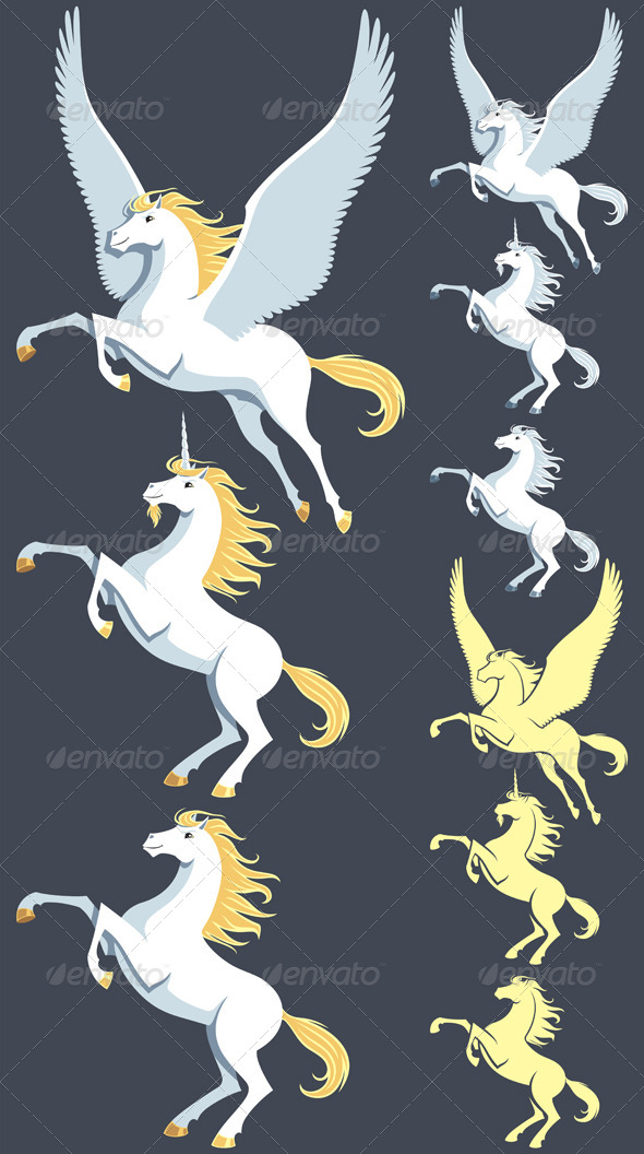 Pegasus Unicorn Stallion - Animals Characters