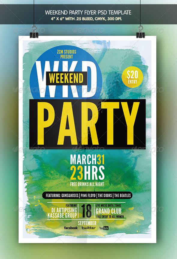 Weekend Party | Flyer Template - Clubs & Parties Events