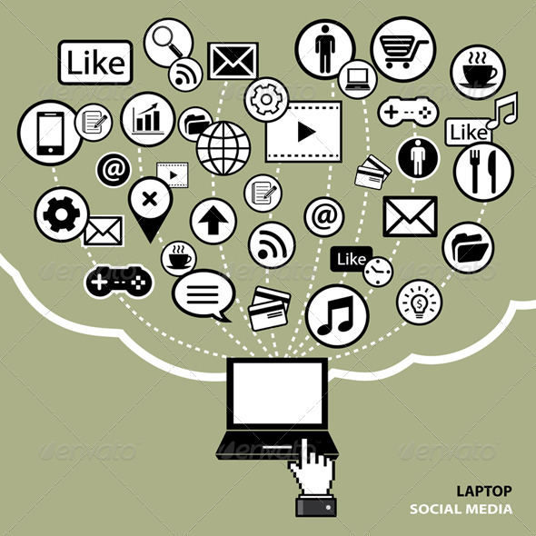 Laptop Social Media Concept - Communications Technology