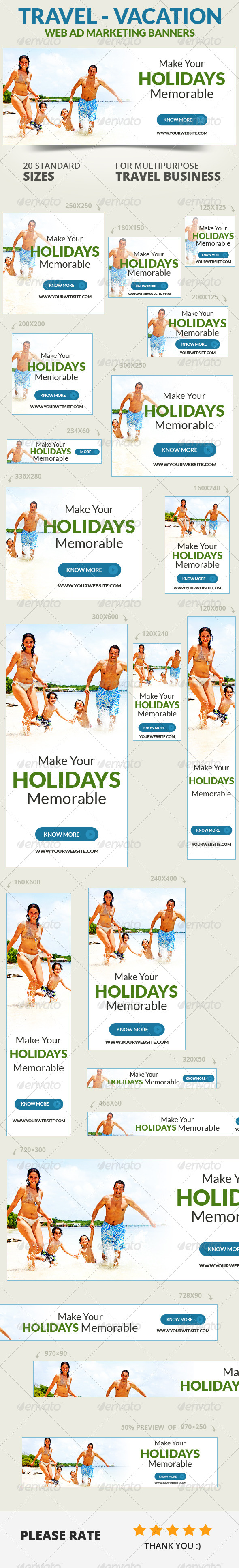 Travel - Vacation Web Ad Marketing Banners Vol 2 - Banners & Ads Web Elements