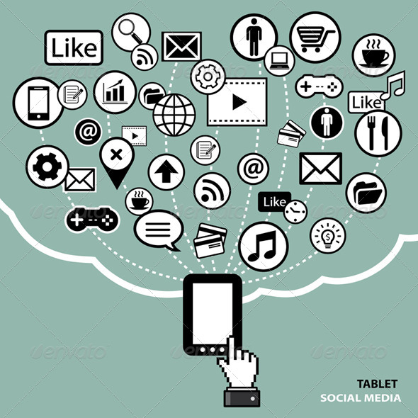 Tablet Social Media Concept - Communications Technology