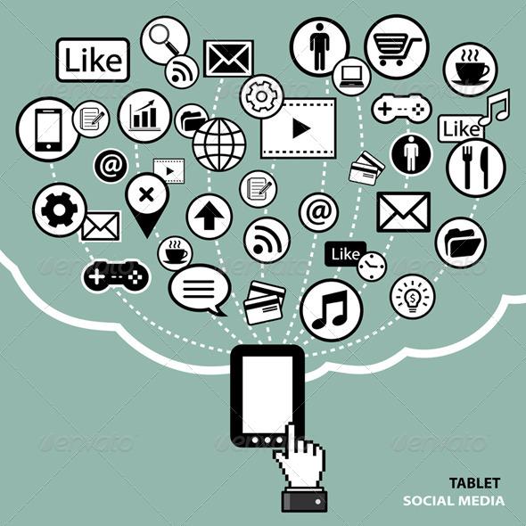 Tablet Social Media Concept - Communications Technology