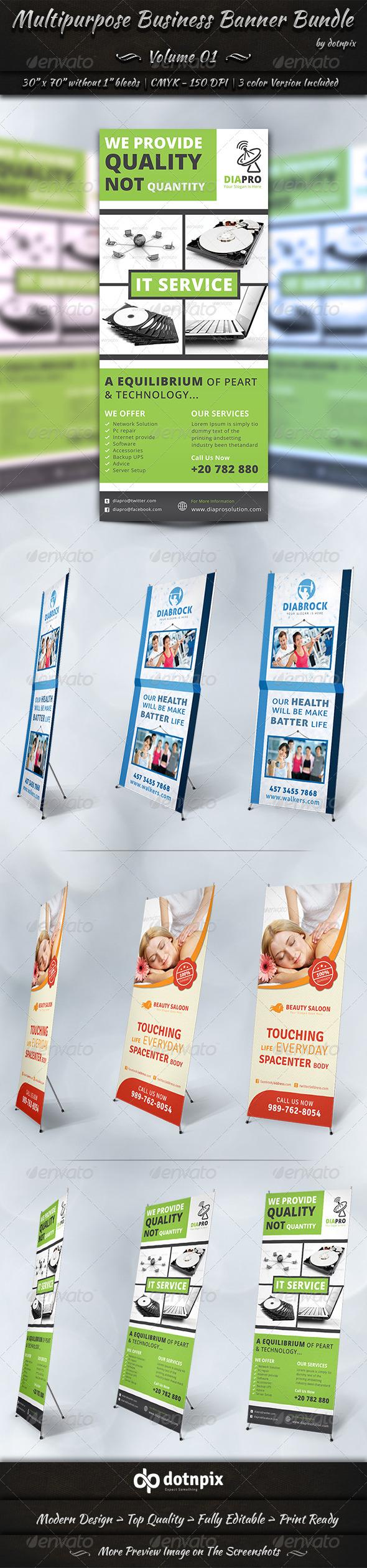 Multipurpose Business Banner Bundle | Volume 1 - Signage Print Templates