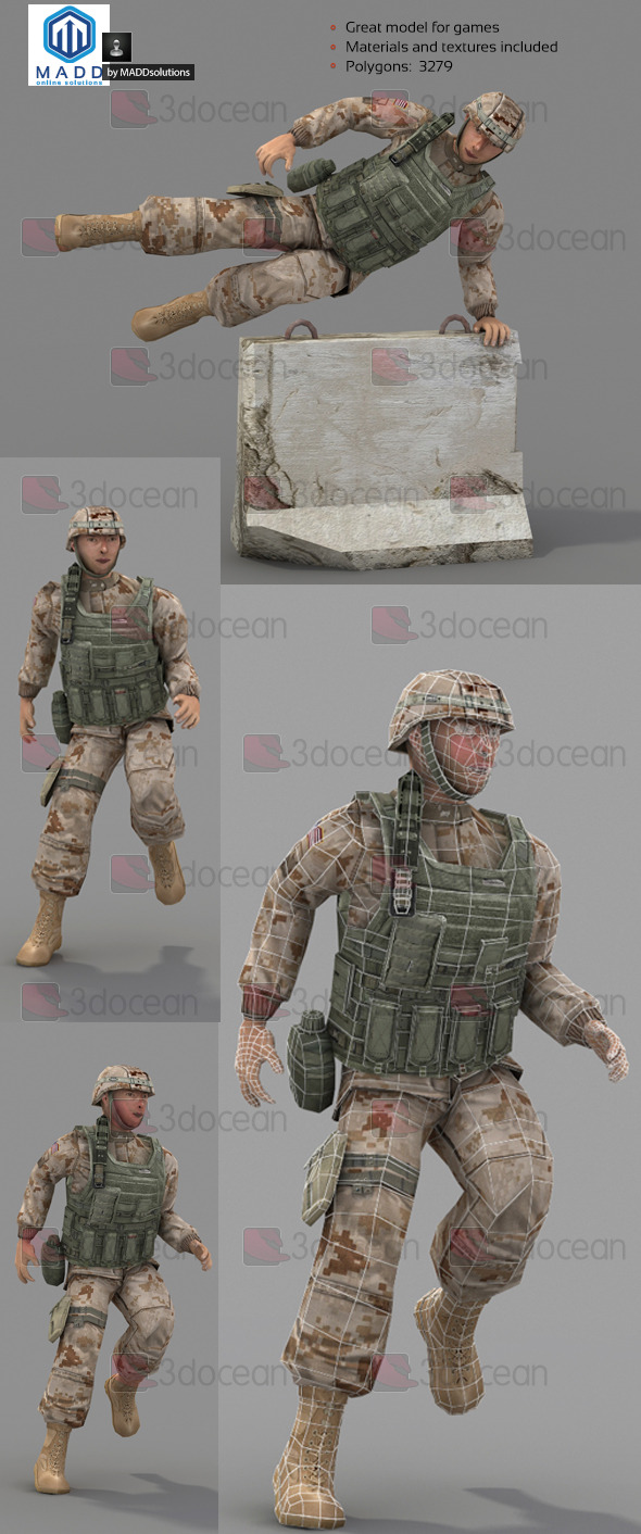 Rigged Low Poly Soldier With Vest and Helmet - 3DOcean Item for Sale
